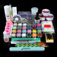 2014 Hot Full 25 Nail Art Acrylic Powder Primer Glitte Liquid Tip Brush Glue Dust Kits UY