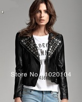 Free Shipping THOOO brands Faux Punk Strong Spike Rivet Studded Shoulder circular metal PU Leather Jacket size S M L XL 2XL 3XL