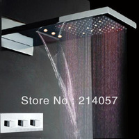 led light rainfall waterfall shower set 230*554*30mm luxury wall mounted rainfall shower head dual headed led shower sets