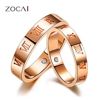 бренд zocai любовь времени розового золота 18к 0,01 ct сертифицированный алмаз обручальное кольцо пара кольцо