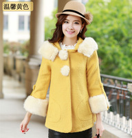 Medium-long thickening woolen outerwear female with a hood fur collar woolen overcoat slim women's long-sleeve woolen