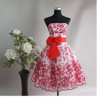 Wholesale,Retail Lace Embroidery Bridesmaid Dresses Toast Strapless Red,Black Color Party Dresses