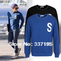 2013 autumn and winter man's fashion design clothing S sweatshirt long-sleeve solid color t-shirt 100%cotton jacket