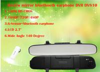 New Design  2.7 inch LCD  FULL HD G-Sensor with bluethooth earphone  DV810 Car Rear View Camera  DVR recorder Free shipping