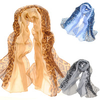 Leopard print color block decoration long scarf faux silk scarf georgette Women large cape