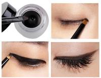 1set Makeup Cosmetic + Brush Black Waterproof Eye Liner Eyeliner Eye Shadow Gel High Quality