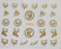 Nail art accessories 3d self-adhesiive stickers gold and silver TY series