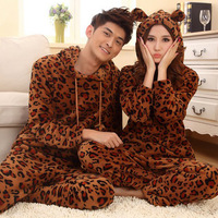 Autumn and winter coral fleece sleepwear leopard print lovers sleepwear female thickening with a hood lovers sleepwear casual