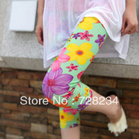 cheap printed leggings Vintage big 2013 multicolour flower cotton yarn capris pants legging female sunscreen thin