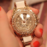 2014Austria Crystal Luxury Lady Bling Shell Rhinestone Fashion Diamond Steel Watches Girl Woman Female Gift Large Dial Watches