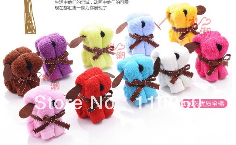 FREE SHIPPING 100%Cotton 10pcs/lot Lovely Dog Shape Cake Towel Flower Wedding Christmas Valentines Birthday gifts(China (Mainland))
