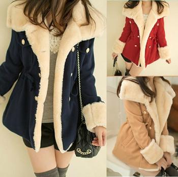 Бесплатная доставка новый 2013 зимнее пальто утолщение шерсти тонкие двубортный шерсти ...