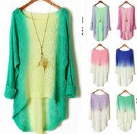 6534 Fashion Batwing Womens Ladies Casual Loose Asymmetric Knit Coat Top SweaterPullover  Drop Shopping