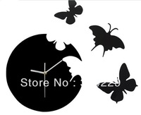 2013 DIY creative wall clock  butterfly wall clock electronic wall clock black and white color can choose free shipping