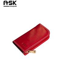 Ask oil waxing leather key wallet genuine leather car key wallet male women's general zipper keychain