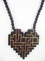 Heart of the labyrinth pendant designs hip hop good wood made rosary beaded pendants necklaces(10pc/lot)