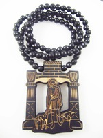 Heaven's door pendant designs hip hop good wood made rosary beaded pendants necklaces(10pc/lot)