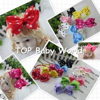 Wholesale 11colors,Polka dot bow with satin girls hair band.baby headband,children hair accessories,kids hairbands 22pcs/lot