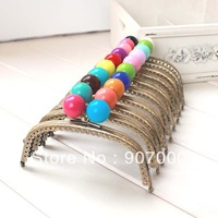 12.5cm 10pcs/lot Bronze embossed  curved purse frame bag handle parts with two-color candy beads clasp sew-on accessories
