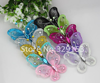 wholesale 45*50mm mixed 10colors Organza wire butterfly with glitter wedding decorations 20pcs/lot