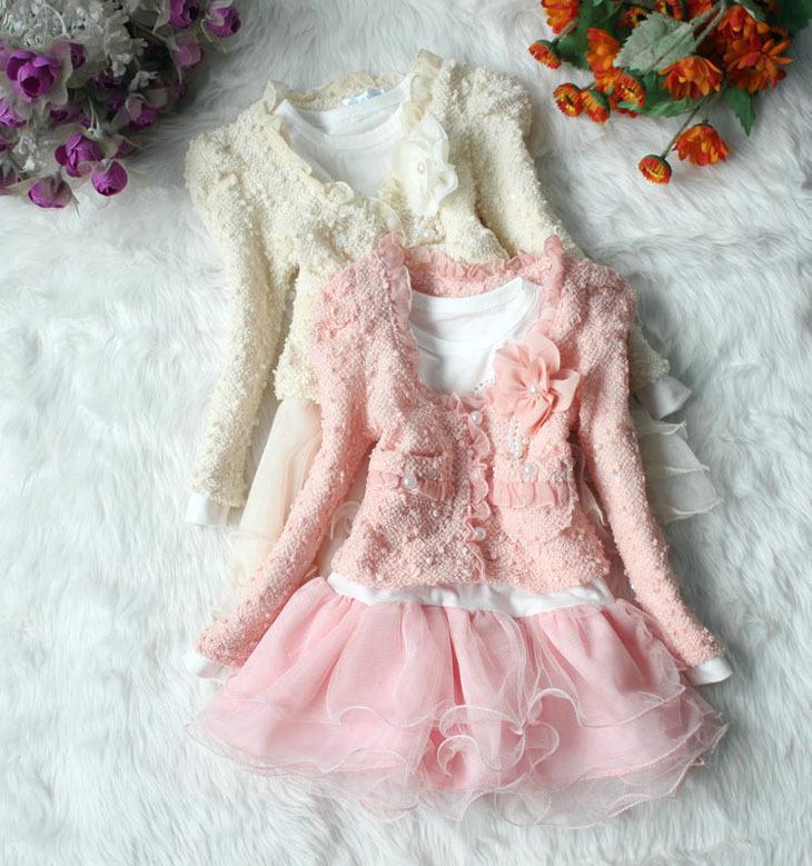 High quality 1 set Dresses And Coat Spring Autumn Clothes Children Dress Girls Dress(China (Mainland))