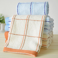 free   shipping Towel cotton plain 100% square grid washouts high quality cotton yarn quality gift towel