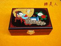 Birthday gift wedding gift-pingyao push-ray lacquer jewelry box -black matrix Sleeping Beauty Christmas gifts - 18cm-PY-037