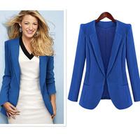 Free shipping hot sale 2013 women fashion fall winter Slim  workwear brand clothing blazer 2 color