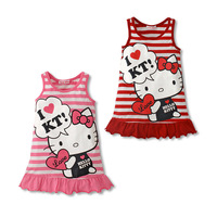 Wholesale 5pcs/lot New 2013 Baby Clothing Girls' Dress Print Hello Kitty Dress Striped Cotton Dress for Girl Princess Dress
