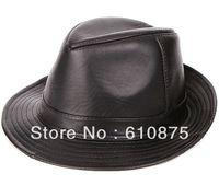 Quality male genuine leather jazz fedoras hat male sheepskin hat quinquagenarian cowboy hat black,R93,A06