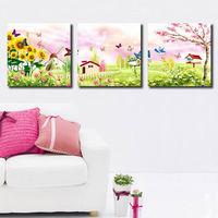 Modern Decorative Paint Garden Picture Canvas Combination Print Painting --34ePT437S