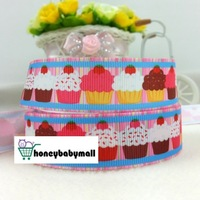 "100Yards 7/8"" 22mm Cartoon Cupcakes Party Printed Grosgrain Ribbon,gift package,Garment accessories,Zakka Ribbon"