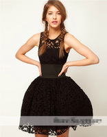 Black Lace Hollow Out Bodycon Women Dress 2013 New Fashion Casual Sexy Club Bandage Woman Dresses