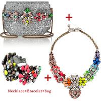 Christmas Gift Luxury shourouk necklace shourouk bag and shourouk bracelet chunky flower Chain Necklaces matching bracelet bag