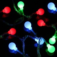 Christmas Xmas decoration LED String Bulb Light RGB 7 Color Changing 50leds/5m 220V + Power Plug Free Singapore Post 1pcs/lot