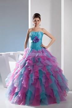 Envío libre 2014 vestido del diseño para graduación hechos a mano se levantó la flor de halloween traje de espalda de encaje siempre bastante colorido vestido de fiesta
