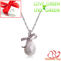 2014 Valentine Day Gifts Free Shipping Classic Rhinestones Bow knot Crystal Freshwater Pearl drop necklace fashion Jewelry 42381