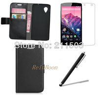 New  Wallet Leather Card Pouch Cover+Film+Stylus For LG Google Nexus 5 E980 ,free shipping!