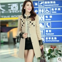 2013 autumn and winter women long design lace woolen overcoat elegant gentlewomen quality outerwear