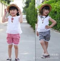 New Summer Kids Clothing Set Lace Children Girl Clothes Set 3PCS T Shirt And Lattice shorts Pants 2 Colors Infant Garment