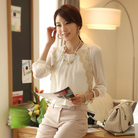 Free shipping +factory price +wholesale 2014 loose chiffon shirt top plus size lace high quality long-sleeve chiffon shirt women