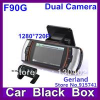 New F90G H.264 Full HD 1280*720P 20FPS Dual Lens Dashboard Car vehicle Camera Video Recorder DVR CAM G-sensor/GPS/Rear Camera