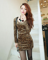 Women Long Sleeve Velvet Crew Neck Leopard Mini Sexy Dress Embroidered Dress 2013 Long Sleeve Autumn Dress Winter Dress