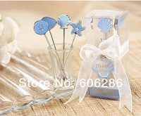 Free shipping  SG 100sets/lot  romantic ocean fruit fork tableware wedding supplies and party favors