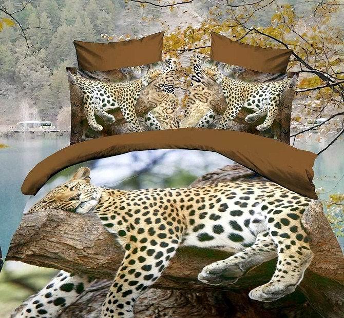 3d leopard animal print tree comforter bedding set for queen size duvet cover bedspread bed - Cheetah print queen comforter set ...