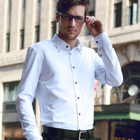 Free shipping  White shirt male long-sleeve solid color easy care formal male shirt commercial shirt male long-sleeve
