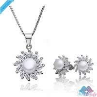 Wholesales Fashion Jewelry 18K Platinum Plated Pearl Crystal Trendy Pearl Jewelry Sets with necklace earring for women LS032