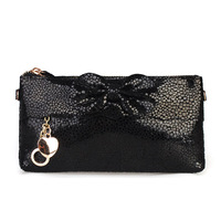 free shipping Women's genuine leather clutch day clutch bow chain dinner clutch bag