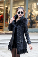 13 lace double breasted PU water washed leather cotton-padded jacket medium-long big size female slim outerwear patchwork
