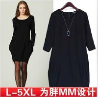 2013 fashion big size clothing one-piece dress  involucres loose long-sleeve dress